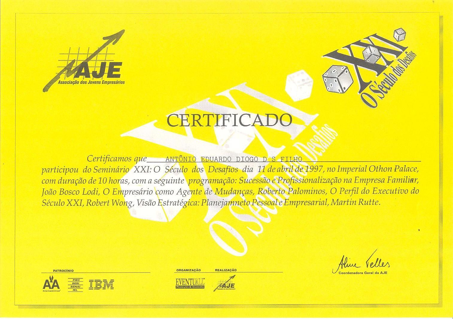 1997 Certificado AJE XXI Seculo dos Desafios