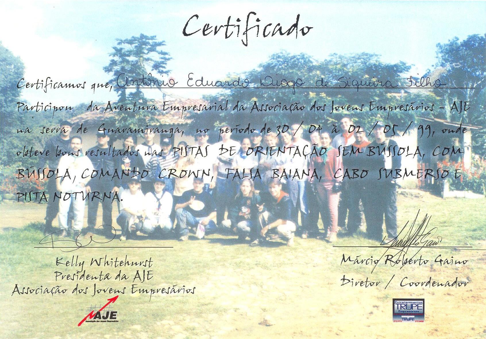 1999 Certificado AJE Aventura Empresarial