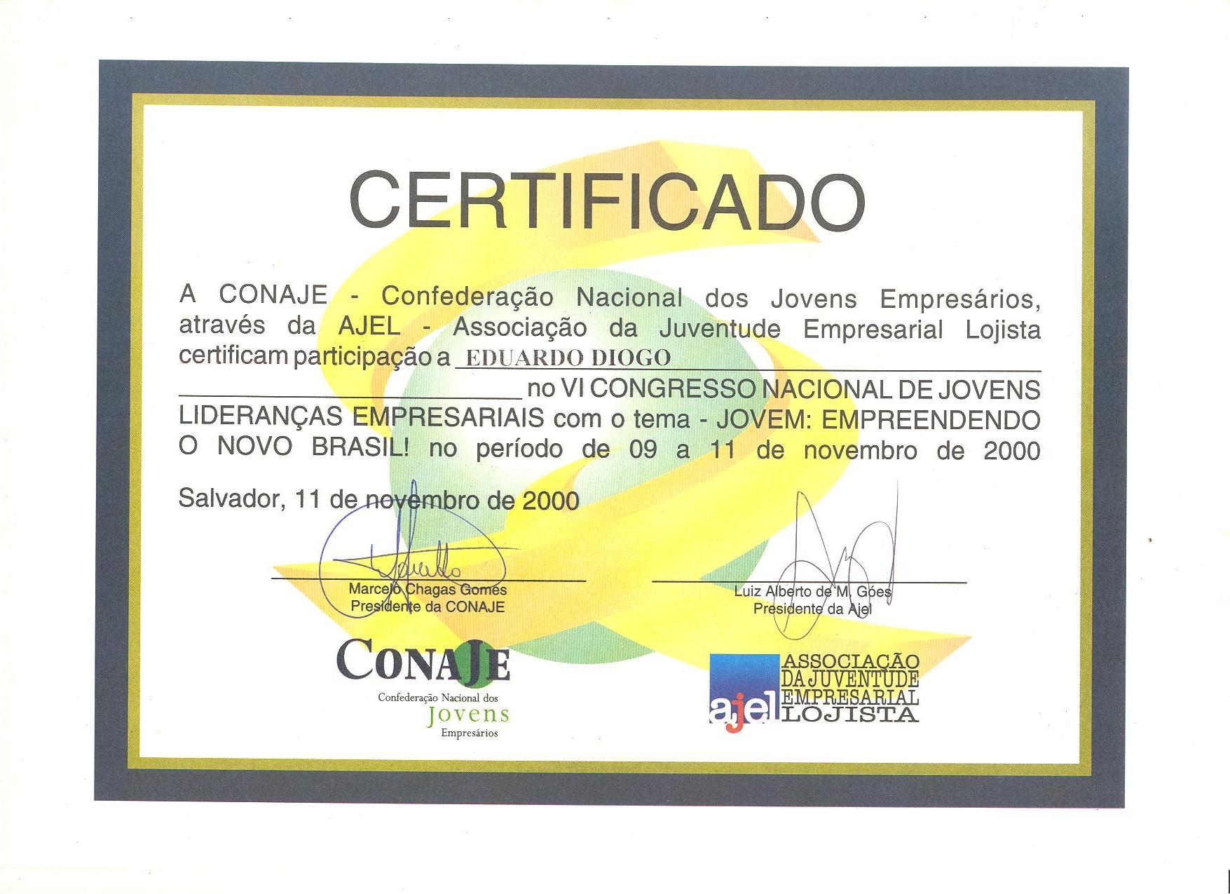 2000 Certificado CONAJE VI Congresso Jovens Lideranças