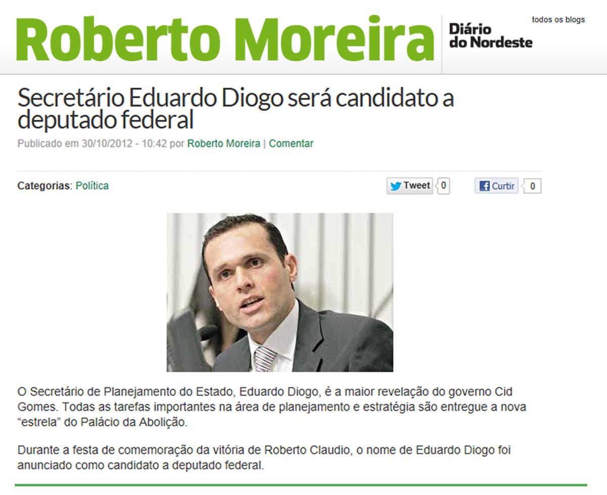 Eduardo Diogo será Candidato a Deputado Federal